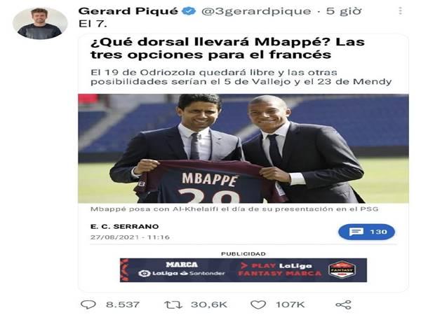 Tin Barca 1/9: Pique cười nhạo Real Madrid mua hụt Mbappe